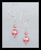 Tiny Silver Coral Crystal Earrings