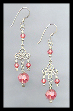 Silver Filigree and Coral Crystal Earrings