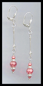 Silver Coral Crystal Rondelle Earrings