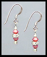 Mini Silver Coral Crystal Rondelle Earrings