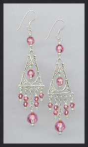Rose Pink Deco Style Earrings