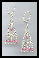 Deco Style Rose Pink Earrings