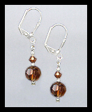 Tiny Silver Coffee Brown Crystal Earrings