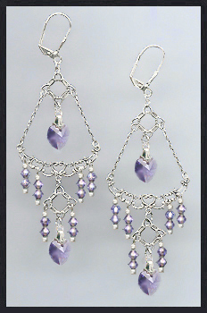 Swarovski Tanzanite Purple Crystal Heart Earrings