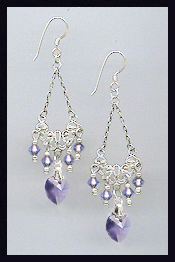 Tanzanite Purple Crystal Heart Earrings