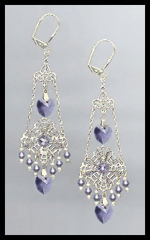 Swarovski Tanzanite Purple Heart Filigree Earrings