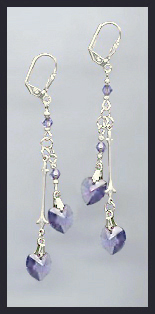 Tanzanite Purple Crystal Heart Drop Earrings