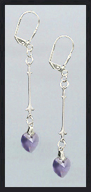 Simple Tanzanite Purple Crystal Heart Earrings