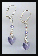 Tanzanite Purple Heart Drop Earrings