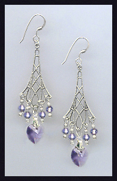 Tanzanite Purple Heart Earrings