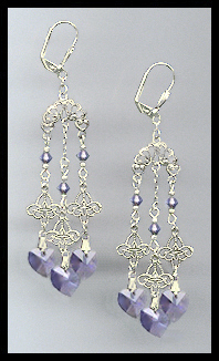Filigree Tanzanite Purple Heart Earrings