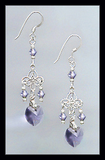 Tiny Tanzanite Purple Heart Earrings