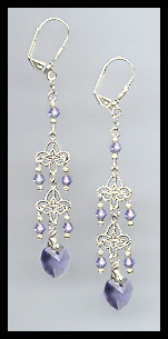 Tanzanite Purple Crystal Heart Dangle Earrings