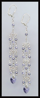 Tanzanite Purple Crystal Heart Chandelier Earrings