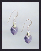 Tiny Tanzanite Purple Crystal Heart Earrings