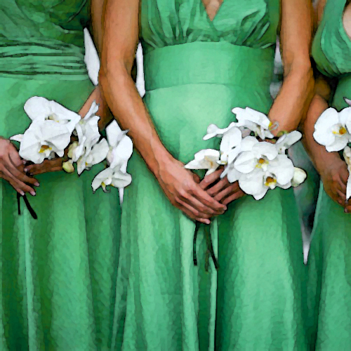 green and silver bridesmaid jewelry